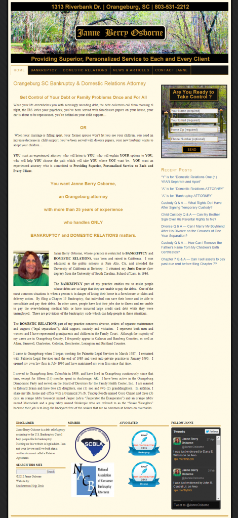 Bankruptcy and Domestic Relations Attorney Janne Berry osborne new website by Southeastern Help Desk.